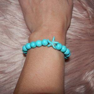 NEW Turtle & Round Bead Elastic Strand Bracelet